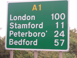A1 sign 100 miles to London
